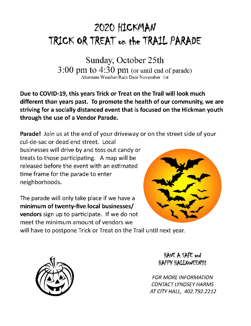 City Of Hickman Trick Or Treat On The Trail 2020 Map